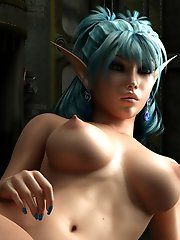 3d pixie with erected brown nipples
