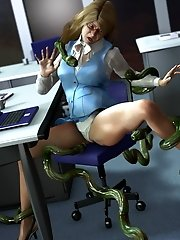 3d tentacles office porn