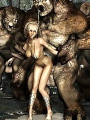 cute blonde fucked by monsters